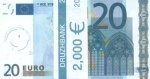"""Пачка денег(сувенир) Евро """"20"""""""
