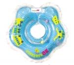 КиндеренОК круг на шею Baby Boy (голубой с веселыми рисунками транспорта) 0-24 мес new