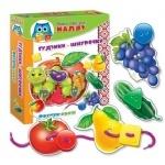 Малышок. Шнуровка+пуговицы. Фрукты-овощи. (рус)