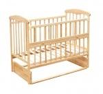 """Кроватка деревянная """"Наталка"""" маятник, откидной бортик, ольха светлая"""
