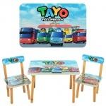 """Столик деревянный + 2 стульчика """"Tayo автобусы"""""""