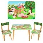 """Столик деревянный + 2 стульчика """"Ферма"""""""