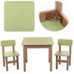 Столик деревянный, салатовый + 2 стульчика