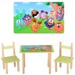 """Столик деревянный + 2 стульчика """"Смешарики"""""""