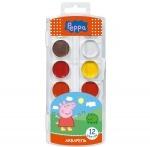 """Краски акварельные медовые """"Peppa Pig"""" 12 цветов"""