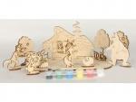 Сборная деревянная модель Колобок + краски