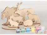 Сборная деревянная модель дикие животные + краски