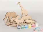 Сборная деревянная модель африканские животные + краски