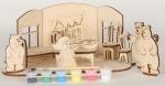 Сборная деревянная модель Маша и три медведя + краски