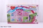 Кукольный дом с куклами, мебелью, машиной