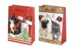"""Пакет бумажный с глитером """"Новогодние котики"""" - блок"""