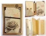 """Блокнот """"Рэтро стиль"""" с конвертом и ручкой в коробке (розы)"""