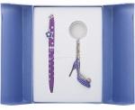 """Набор подарочный Langres """"Heel"""": ручка шариковая+ брелок фиолетовый"""