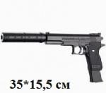 Игрушечный пистолет, с пульками и глушителем