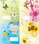 """Тетрадь 12 листов, клетку """"Цветы и бабочки"""""""