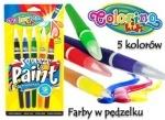 Ручка с кисточкой наполненная краской, 5 цветов