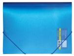 Папка пластиковая А4 на резинках, METALLIC синяя