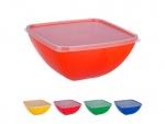 Миска-салатница пластиковая квадратная с крышкой 1,5л