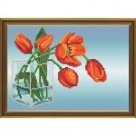 """Рисунок из ткани для вышивания бисером """"Красные тюльпаны"""""""