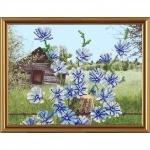 """Рисунок из ткани для вышивания бисером """"Голубые цветочки"""""""
