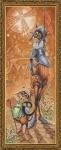 """Набор для вышивания нитками на канве с фоновым рисунком """"Дон Ки Кот и Санчо"""""""
