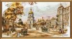 """Набор для вышивания нитками на канве с фоновым рисунком """"Старый Киев"""""""