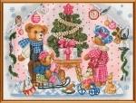 """Набор для вышивания нитками на канве с фоновым рисунком """"Новогодний подарок"""""""