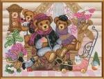"""Набор для вышивания нитками на канве с фоновым рисунком """"Мишкин дом"""""""
