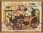 """Набор для вышивания нитками на канве с фоновым рисунком """"Семейная поездка"""""""
