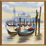 """Набор для вышивания нитками на канве с фоновым рисунком """"Пристань в венеции"""""""