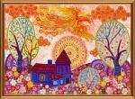 """Ткань с нанесенным рисунком-схемой """"Вестник счастья"""", для вышивания бисером"""