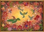 """Ткань с нанесенным рисунком-схемой """"Райские птицы"""", для вышивания бисером"""