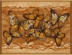 """Ткань с нанесенным рисунком-схемой """"Полет бабочек"""", для вышивания бисером"""