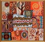 """Ткань с нанесенным рисунком-схемой """"Магические узоры"""", для вышивания бисером"""