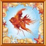 """Ткань с нанесенным рисунком-схемой """"Золотая рыбка"""", для вышивания бисером"""