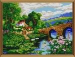 """Ткань с нанесенным рисунком-схемой """"Деревенский пейзаж"""", для вышивания бисером"""