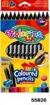 """Карандаши """"JUMBO"""" цветные, треугольные + точилка, 12 цветов"""