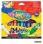 """Маркеры """"Magic"""" с меняющимся цветом 9+1 цветов, Колорино"""
