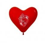 """Шарики """"Сердце"""" с рисунком красные"""