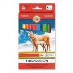 """Карандаши цветные """"K-I-N"""" Triocolor Jumbo Horses 24 цвета"""