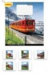 Тетрадь в клетку А5 12 листов Trains&Nature