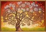 """Ткань с нанесенным рисунком-схемой """"Дерево счастья"""" для вышивания бисером"""