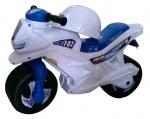Мотоцикл 2-х колесный с каской музыкальный, белый