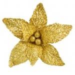 Пуансеттия с клипом, золотая