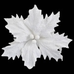 Пуансеттия искусственная с клипом, белая