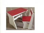 Детский деревянный столик со стульчиком, красный
