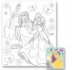 """Холст с контуром """"Принцессы"""" (25см*30см) с красками"""