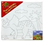 """Холст с контуром """"Динозавр"""" с красками"""